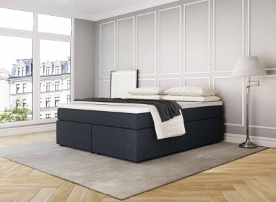 Boxspringbett Headless King marineblau