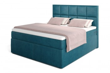 Dream Boxspringbett mit TFK-Matratze und Topper in 180/200 cm in H3  mit Viscoschaum-Topper in Petrolblau (Velour)