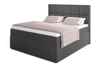 Dream Boxspringbett mit TFK-Matratze und Topper in 180/200 cm in H3  mit Visco-Kaltschaum-Topper in Grau (Velour)