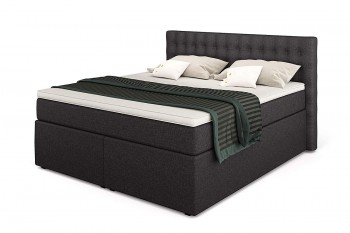 King Boxspringbett mit Bettkasten, TFK-Matratze und Topper in 200/200 cm, Anthrazit, H3 mit Viscoschaum-Topper