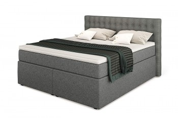 King Boxspringbett mit Bettkasten, TFK-Matratze und Topper in 200/200 cm, Hellgrau, H3 mit Viscoschaum-Topper